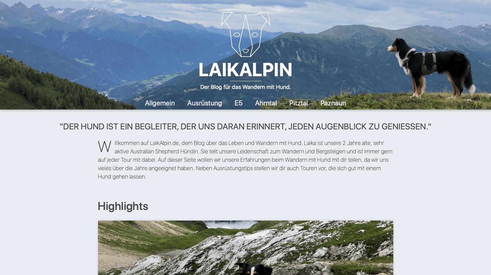 Webdesign Projekt für einen Blog für alpines Wandern mit Hund – Laikalpin