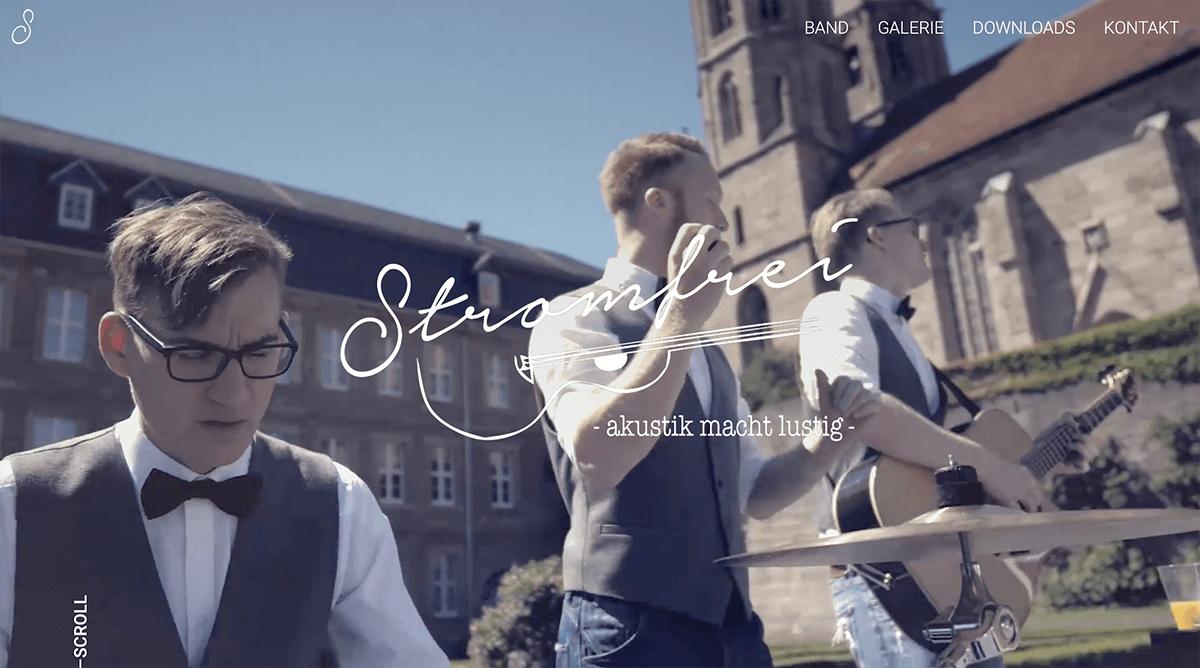 Webdesign Projekt für Akustik Coverband aus dem Eichsfeld – Stromfrei